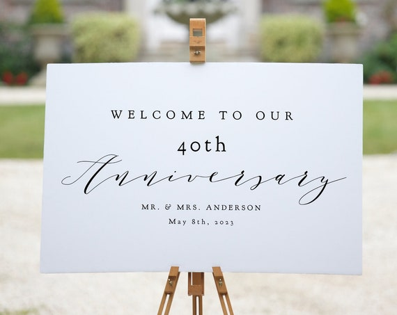 """40th Anniversary Welcome Sign, Printable 40th Anniversary or any other number, DIY Printable, """"Wedding"""" 4 sizes, Corjl Template, FREE Demo"""