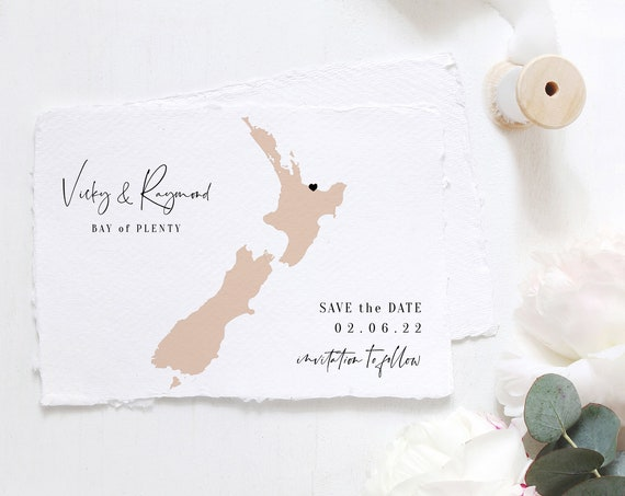 Destination - New Zealand Save the Date, Wedding in New Zealand, Reposition the Heart to your location on map, Corjl Templates, FREE Demo