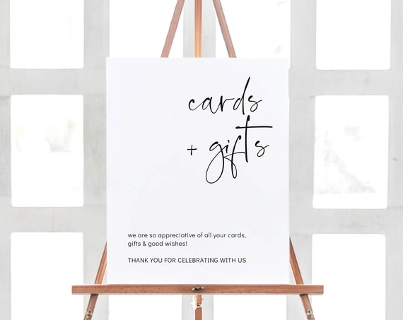 "Moderna - Cards & Gifts Modern Minimalist Sign, Wedding Cards and Gifts Template, 5x7"", 8x10"" and 16x20"" Corjl, FREE Demo"