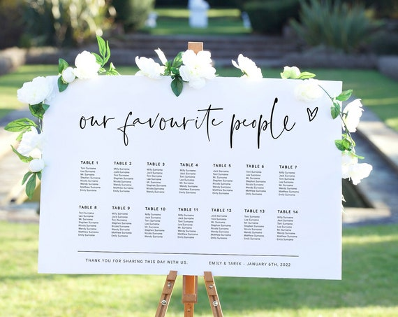Modern Seating Plan Template, Our Favourite People, Editable Table Plan Template, Modern Minimalist, Corjl Template, FREE Demo | 86