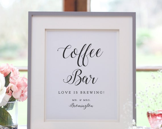 """Coffee Bar Sign, Printable Love is Brewing Wedding sign, 5x7"""" and 8x10"""", Corjl Templates, FREE Demo"""
