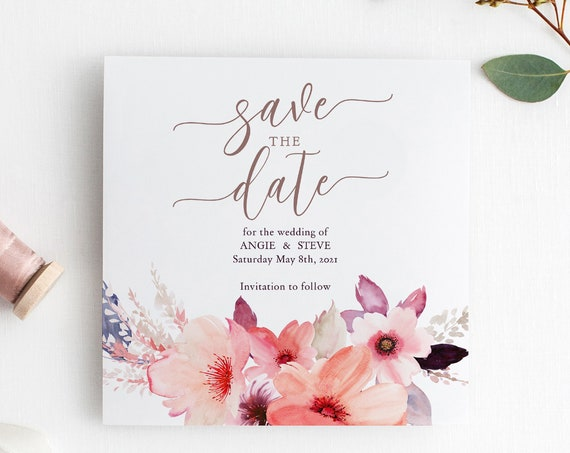 "Square 6x6"" Save the Date Template, Printable Save the Date flowers, Corjl, FREE Demo, ""Angie"", in 3.5x5"", 4x6"", 5x7"", 6.25"" square and A6"