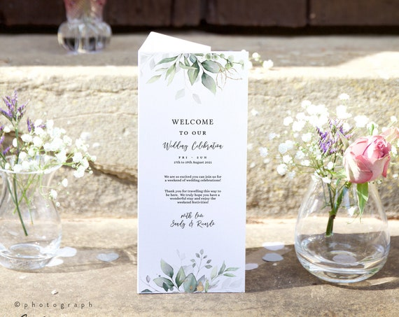Leaf & Gold - Trifold Welcome Wedding Program Events, Activities, Useful Information, Printable Template, Corjl Templates, FREE Demo