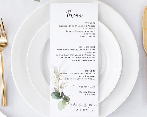 "Leaf & Gold - Beautiful Greenery Menu Cards, Printable Greenery Menus, Botanical, 5x7"", 4x9"", Corjl Templates, FREE Demo"