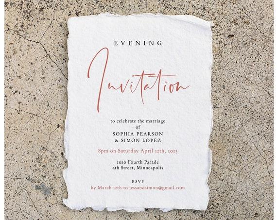 Rose - Evening Invitation, Rose Gold Evening Reception, Let's Party, Printable Templates, Wedding Reception, Corjl Templates, FREE Demo