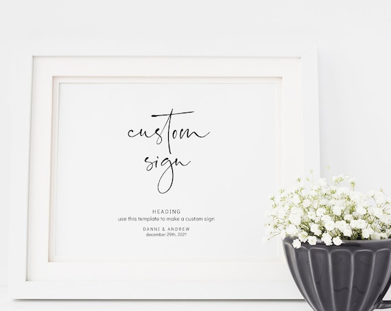 """Moderna - Custom Sign, Personalised Wedding Signs in horizontal and vertical, Printable Templates 5x7"""" & 8x10"""" Templates, Corjl, FREE Demo"""
