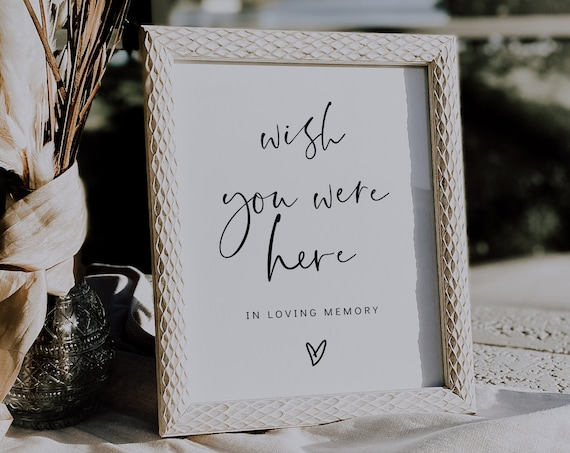 Wish You Were Here, In Loving Memory Sign, Printable Memorial Sign, Watching From Above, 3 Sizes, Corjl Template, FREE demo | 86