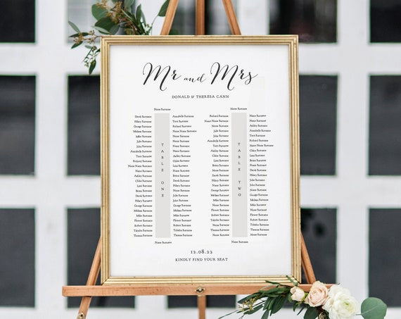 Banquet Seating Chart, 2 Long Tables, Banquet Table Plan Printable Template, Wedding Banquet Tables, 6 sizes, Corjl Template, FREE Demo