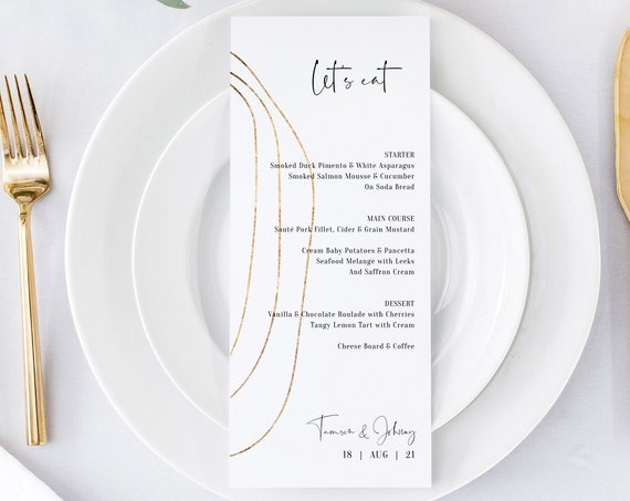 "Abstract - Gold Border Design Menu, Gold Menu, Modern Menu Cards, 5x7"" & 4x9"", Corjl Templates, FREE Demo"