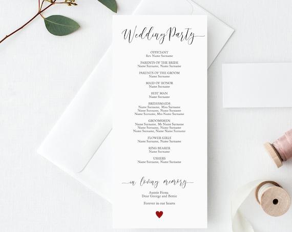"Wedding Church Programs, Printable Wedding Program Template, 4x9"" Programme Template. Corjl FREE Demo"