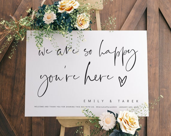 We Are So Happy You're Here, Wedding Welcome Signs in 8 sizes, Wedding Decor, Modern Minimalist, Corjl Template, FREE Demo | 86