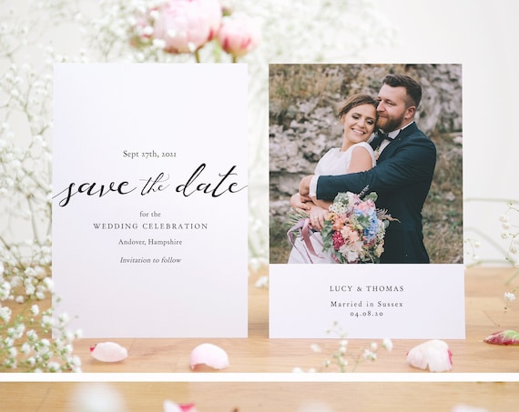 """Lucy - Save the Date with Photo, Front and Back Printable Save the Date cards Wedding Celebration, 5x3.5"""" & A6, Corjl Template, FREE Demo"""