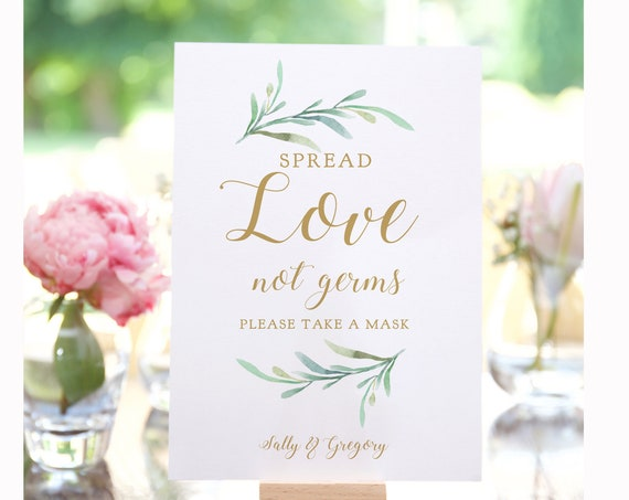 "Spread Love Not Germs, Masks Covid Aware Wedding Signs, Printable Masks Sign ""Greenery"" 5x7"" & 8x10"" Corjl Template, FREE Demo"