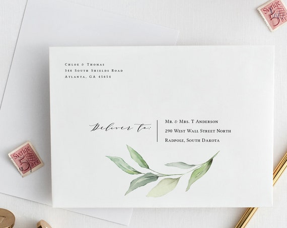 "Wedding Envelope templates, 5x7"" and 5x3.5"" with a beautiful greenery design, Leaf & Gold, Corjl Templates, FREE Demo"