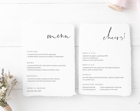 "Modern - Printable Cheers Menu and Food Menu Templates, Minimalist Style, Templates in 5x7"", 4x9"", 8x10"" & A5, Corjl, FREE Demo"