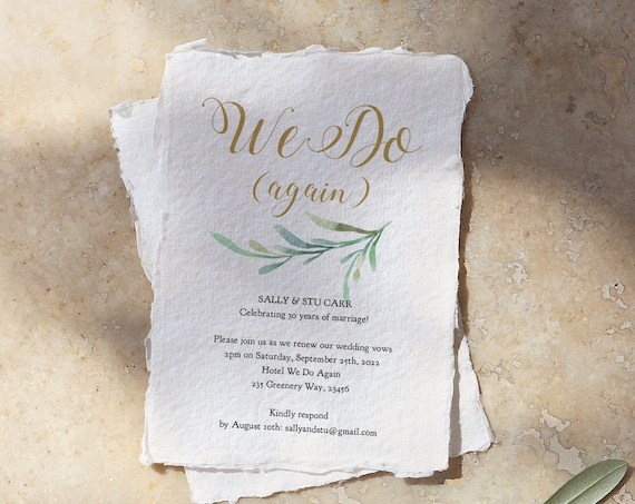 We Do Again, Vow Renewal Invitation Template, We Still Do, DIY Printable Invite for your Vow Renewal 'Greenery', Corjl Template, FREE Demo