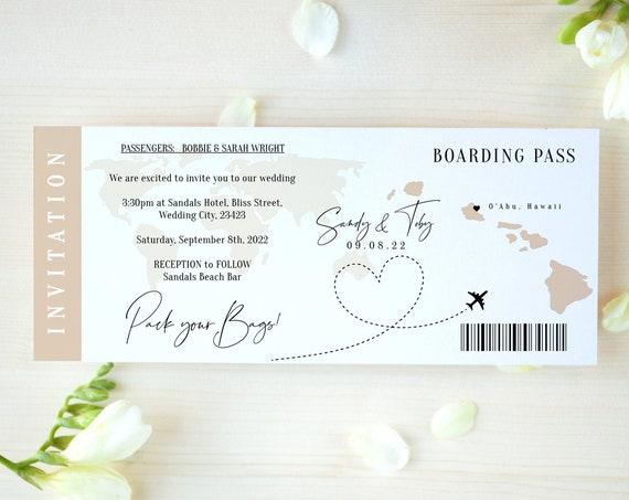 Destination - Hawaii Boarding Pass Invitation Ticket Template, Printable Boarding Pass Invitation, Corjl Templates, FREE Demo