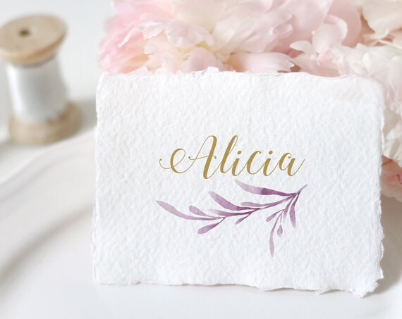 Lilac Place Cards, Printable Lilac Flat and Folded Name Place Cards. 2 Sizes. Corjl Template, FREE Demo