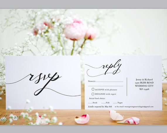 "Lucy - RSVP Postcard Wedding, Printable Rsvp Cards, DIY Wedding, 4x6"", Corjl Template, FREE Demo"