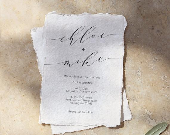 "Modern Wedding Invitations, Minimalist Wedding Invitation Template, Printable Invitation Set, 5x7"", 4x5.5"" & A6, Corjl FREE Demo"