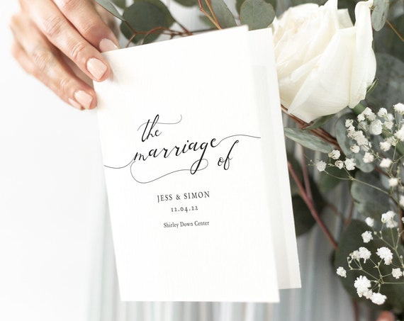 Lucy - Folded Wedding Program Booklet, Printable Modern Order of Service Template, Rustic Wedding Program Booklet, Corjl Template, FREE Demo