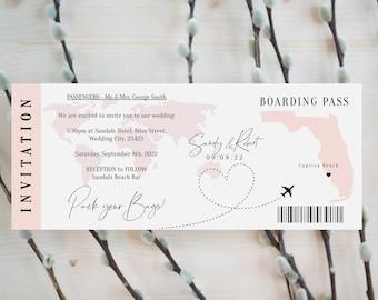Destination - Florida Boarding Pass Wedding Invite, Printable Wedding Invitation Template Destination Wedding, Corjl Templates, FREE Demo