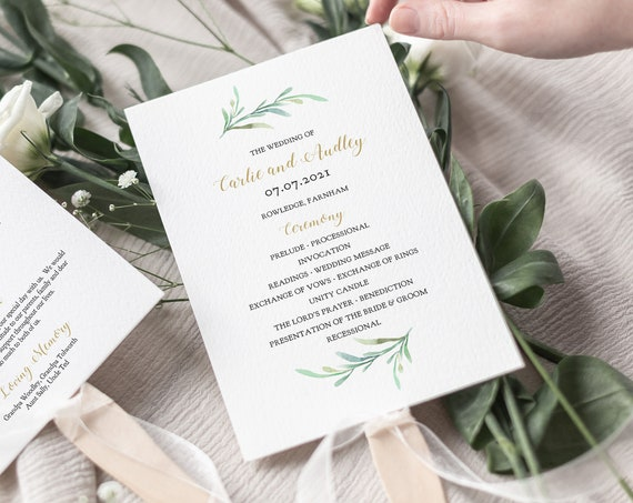 Fan Wedding Program Paddle Fan, Greenery Printable Wedding Program Fan Order of Service Template Programs, Corjl FREE Demo
