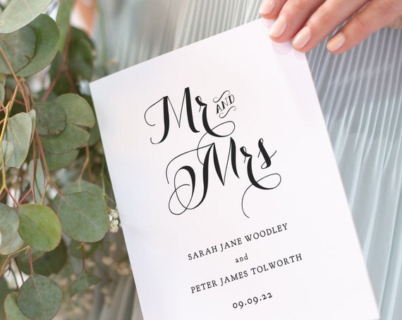 Mr and Mrs Wedding Program, Mr and Mr Wedding Program, Mrs and Mrs Wedding Program. Byron, Folded Order of Service Corjl Template, FREE Demo