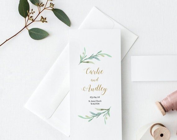Printable Wedding Program Template, Greenery Wedding Program, Corjl, Long Folded Order of Service 'Greenery', FREE Demo, Try before you buy!