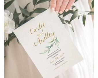 Greenery Wedding Invitation Template | Garden Invitation, Printable Wedding Invitation Template Greenery | Corjl Template, FREE Demo