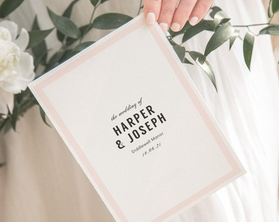 Modern Wedding Program with Border in any colour, edit print and fold DIY wedding program, 'Harper' Corjl Template, FREE Demo