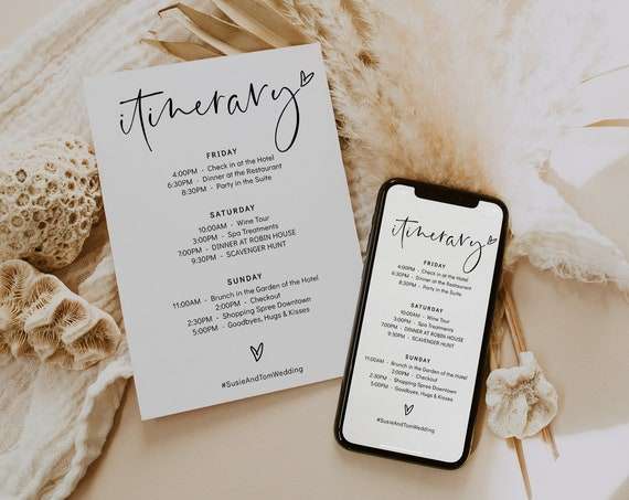 Itinerary Card + Electronic for Phone or Email, Wedding Itinerary, Bachelorette Weekend, Corjl Template, FREE demo | 86