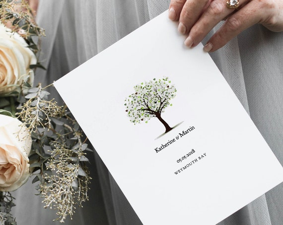 Tree Wedding Program template, 'Tree of Love'. Edit, print, fold | DIY Editable printable order of service template | Word files A4, 8.5x11