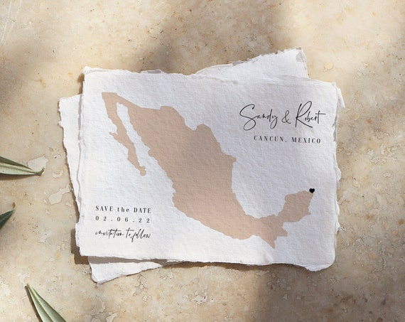 Destination - Mexico Wedding Save the Date, Cancun Destination Wedding, Easily move the heart on the map, Corjl Templates, FREE Demo