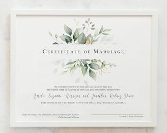 Leaf & Gold - Certificate of Marriage, Greenery Marriage Certificate Template, Wedding Keepsake, 3 sizes, Corjl Template, FREE Demo
