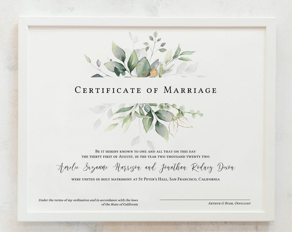 Leaf & Gold - Certificate of Marriage, Greenery Marriage Certificate Template, Wedding Keepsake, 3 sizes, Corjl Template, FREE Demo