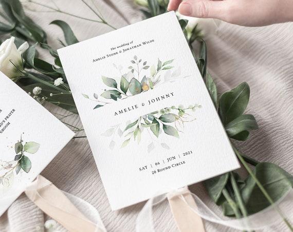 Leaf & Gold - Fan Wedding Program, Printable Greenery Wedding Order of Service Fans, Corjl Templates, FREE Demo