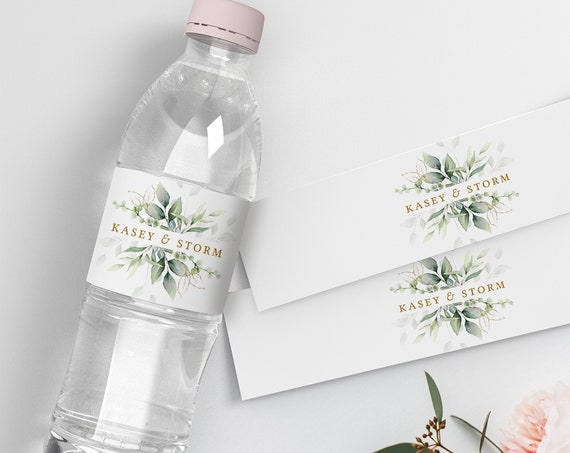 """Leaf & Gold - Water Bottle Label, Printable Bottle Label with Beautiful Greenery Design, 2.5"""" Label template, Corjl Template, FREE Demo"""