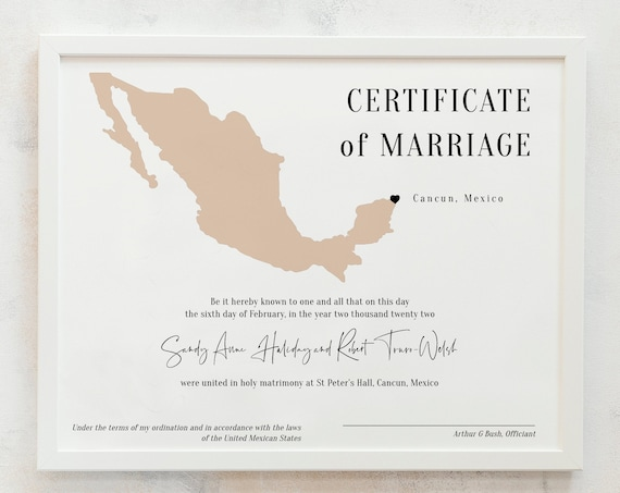 Destination - Mexican Marriage Certificate, Printable Wedding Keepsake, Certificate of Marriage, in 3 Sizes, Corjl Templates, FREE Demo
