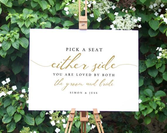LucyGold - Gold Pick a Seat Either Side, Ceremony Seating Printable Sign in 5 sizes, Corjl template, FREE demo