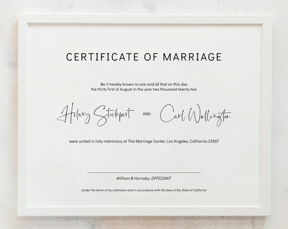 Modern - Minimalist Certificate of Marriage, Wedding Certificate Template, Printable Certificate, 3 sizes, Corjl, FREE Demo