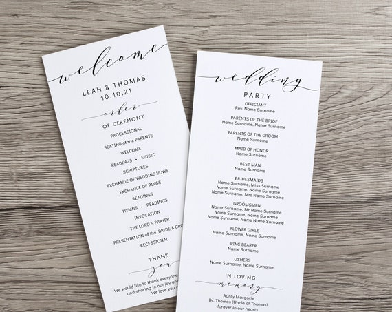 "4x9"" Wedding Program Template, Printable Wedding Ceremony Program, ""Wedding"", Corjl Templates, FREE Demo"