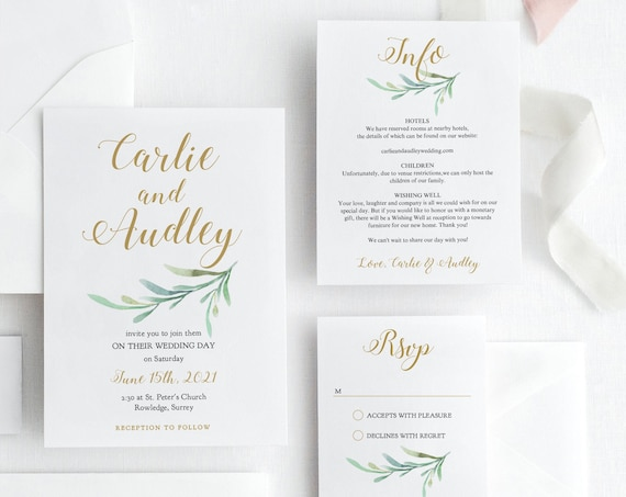 "Wedding Invitation Template Set, Printable Invitation, RSVP and Info Cards, ""Greenery"", Corjl Templates, FREE Demo"