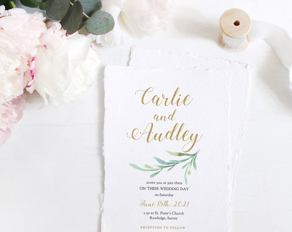 Wedding Invitation Templates with Greenery | Garden Invitation, Printable Wedding Invitation Template Greenery | Corjl Template, FREE Demo
