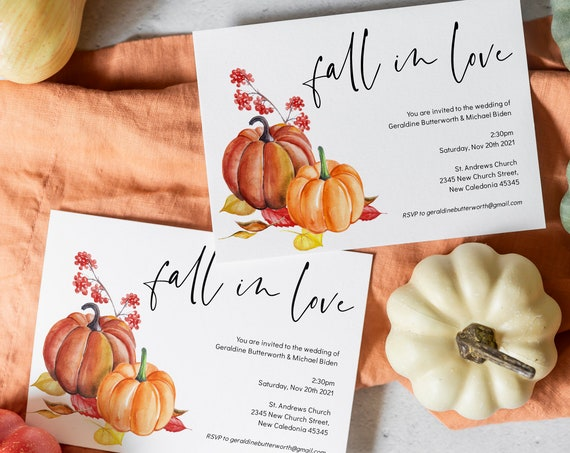 "Autumn - Fall Wedding Invitations, Printable Fall in Love Invitation Templates, Halloween, Pumpkin, 5x7"", Corjl Templates, FREE Demo"