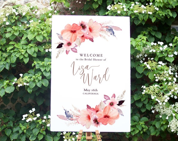 "Floral Welcome to Bridal Shower Printable Template, Corjl Template, FREE Demo, ""Angie"", in 11x17"", 16x20"", 18x24"" 24x36"", A1, A2 & A3 sizes"
