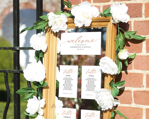 LucyRose - Wedding Table Plan Seating Cards, Make your own style Seating Plans with these Printable Templates, Corjl Template FREE Demo