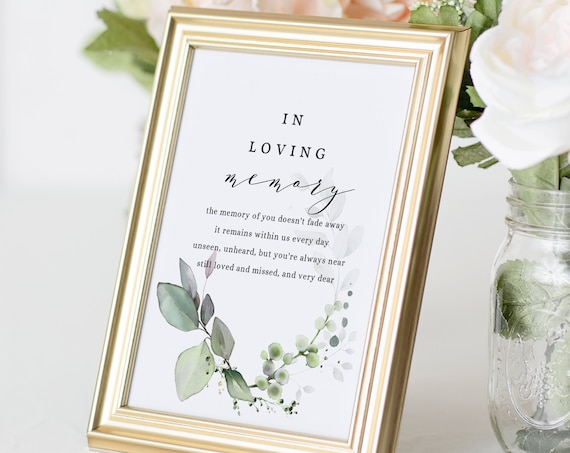 Leaf & Gold - In Loving Memory Printable Template, Memorial Table Sign, Corjl Templates, FREE Demo