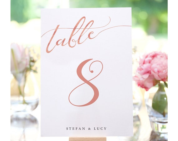 """LucyRose - Rose Gold Numbers, Printable Wedding Table Number Templates, 4x6"""" and 5x7"""", Rose Gold EFFECT, Corjl Template, FREE Demo"""