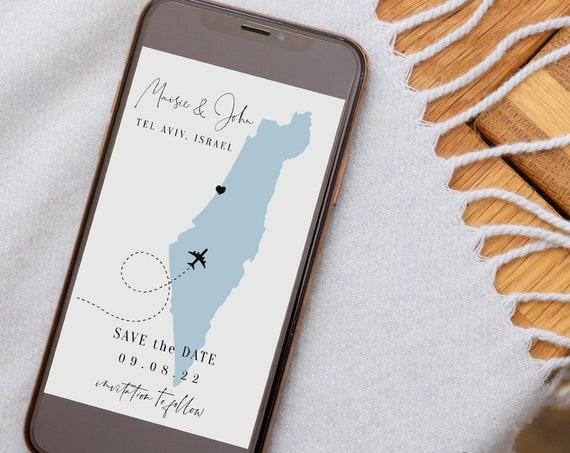 Destination - Israel Electronic Save the Date, Tel Aviv, Jerusalem, Israel Save the Dates, Evite Wedding, Corjl Templates, FREE Demo